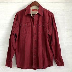 Wrangler Mens Brick Red Button Down Pocket Shirt